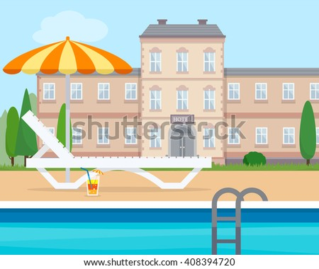 Lounge with umbrella near the pool of hotel. Flat style vector illustration. - stock vector