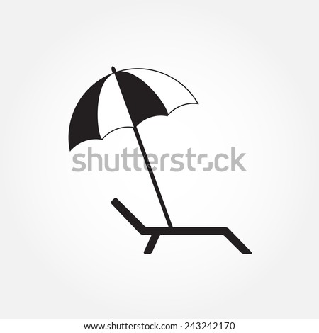 Lounger or chaise lounge and beach umbrella icon isolated on white background. Vector illustration. - stock vector