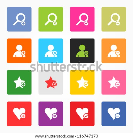 Loupe, user profile, star favorite, heart bookmark icon with plus, delete, check mark and minus sign. 16 popular colors rounded square web internet button on gray background. Vector illustration 8 eps - stock vector