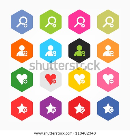 Loupe, user profile, star, heart, plus, delete, check mark, minus sign. Minimal metro style icon set. Simple rounded hexagon internet button. Solid plain color flat tile. Web design elements 8 eps - stock vector