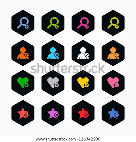 Loupe, user, star, heart, plus, delete, check, minus sign. Color on black. Minimal metro style icon set. Simple rounded hexagon internet button. Solid plain color flat tile. Web design elements 8 eps - stock vector