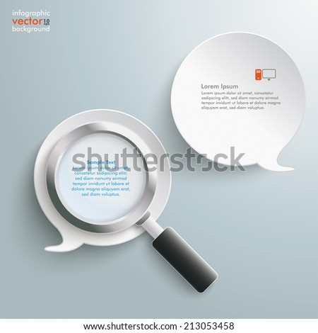 Loupe with 2 white speech bubbles on the grey background. Eps 10 vector file. - stock vector