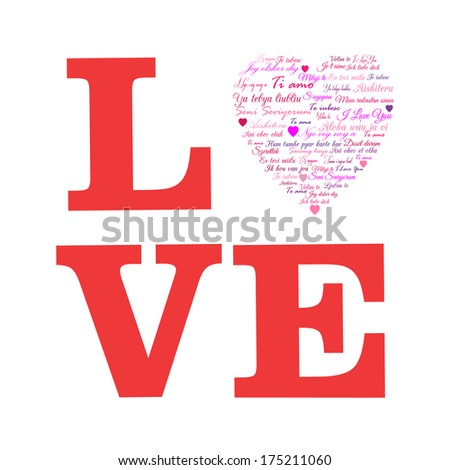 "Love. A Heart Made of Words "" I Love You "" in Many Languages - stock vector"