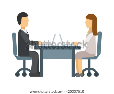 Love affair at work romance between two colleagues. Coworking man and woman being love with each other. Vector love affair at work. Concept for office romance, flirting at work, love affair at work. - stock vector