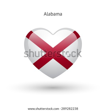 Love Alabama state symbol. Heart flag icon. Vector illustration. - stock vector