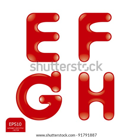 Love alphabet - stock vector