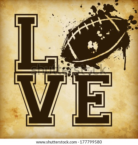 Love American Football Template - suitable for posters, flyers, brochures, banners, badges, labels, wallpapers, web design, advertising, publicity or any branding. - stock vector