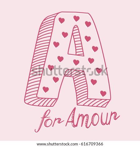 Bien-aimé Love Amour Typography Tee Shirt Graphics Stock Vector 616709366  XL03
