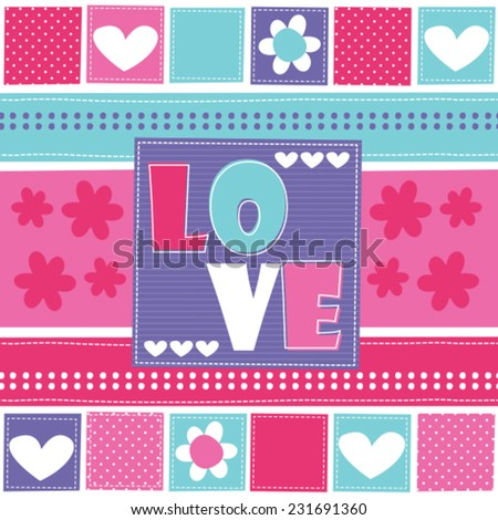 love and flower vector illustration - stock vector