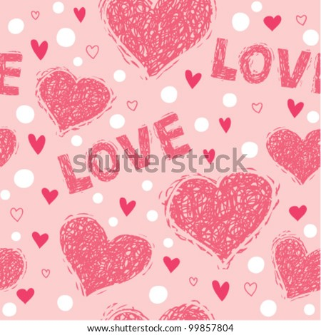love and hearts seamless pattern - stock vector