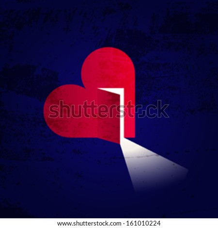 Love and hope. Creative illustration of a heart with open door and light inside - stock vector