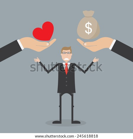 Love and money. Business concept - stock vector