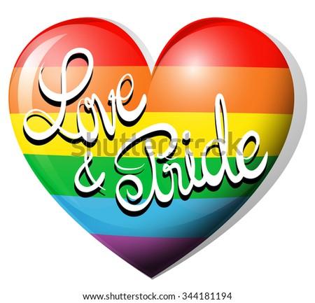 Love and pride on rainbow heart illustration - stock vector