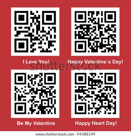 Love and Valentine Day readable vector QR Code collection for your design - stock vector