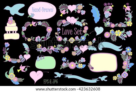 Love and wedding flower frames and bouquets vector clipart set on black, wedding flower wreath, wedding bouquet, wedding clipart, wedding vector clipart, wedding invitation decor, wedding ornament - stock vector