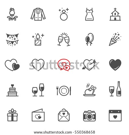 Love and Wedding icons with White Background