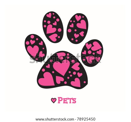 Love Animals Paw print of dog - stock vector