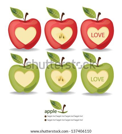 Love Apple vector illustration - stock vector