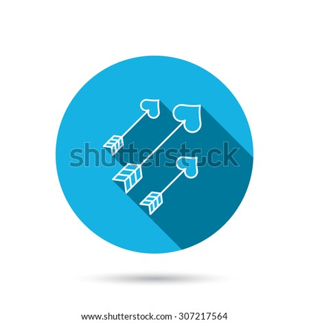 Love arrows icon. Amour equipment sign. Archer weapon with hearts symbol. Blue flat circle button with shadow. Vector - stock vector