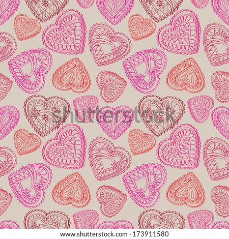 Love background. St Valentine's seamless pattern with vintage style hearts.  Wedding texture.  - stock vector