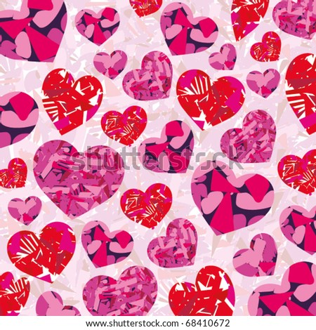 Love background with hearts for St. Valentine's day - stock vector