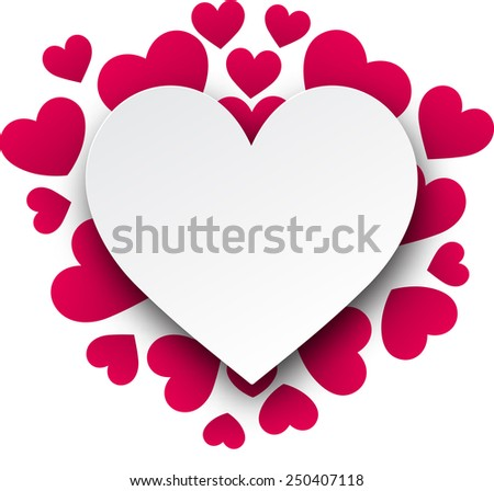 Love background with pink hearts. Paper note. Valentine's greeting card. Vector illustration.  - stock vector
