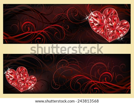 Love banners with two ruby hearts, vector illustration - stock vector