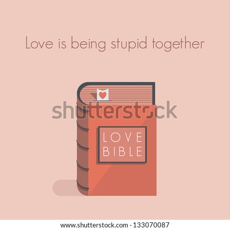 Love Bible with red heart bookmark.Concept for love commandments, quotes.You can add any love text you want.