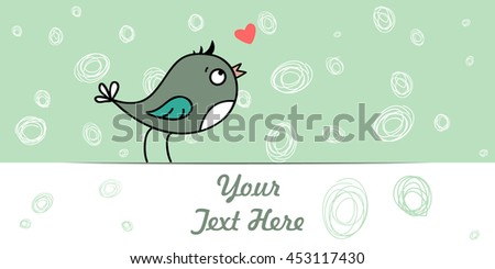 love bird and hearts pattern on love alphabet.  - stock vector