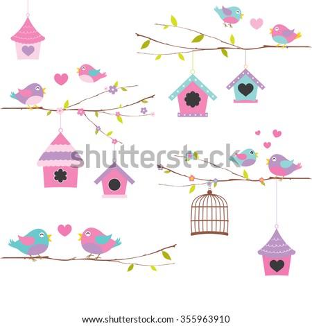 Love bird,bird vector set,bird vector collection - stock vector