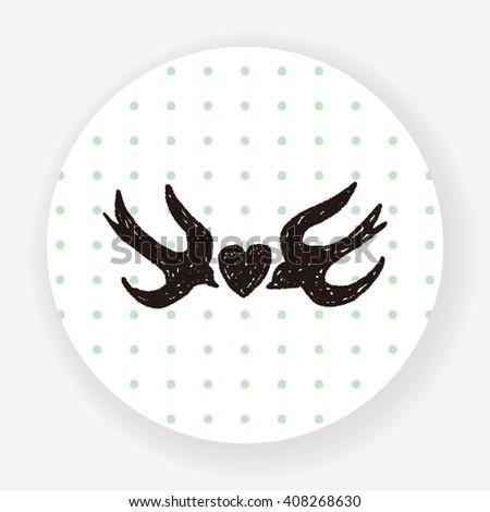 love bird doodle - stock vector