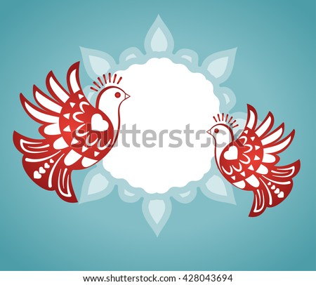 love birds with plaque banner for your input  - stock vector
