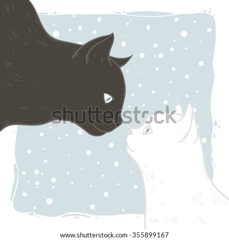 Love black and white cat. Hand drawing .Vector illustration.