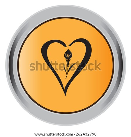 love, black, icon, flower, lily, vector, illustration, icon, button. - stock vector