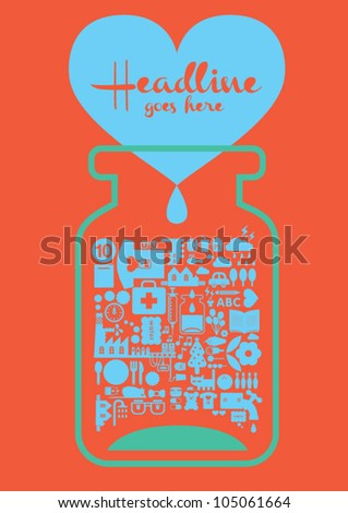 Love bottle / design / template / orange background - stock vector