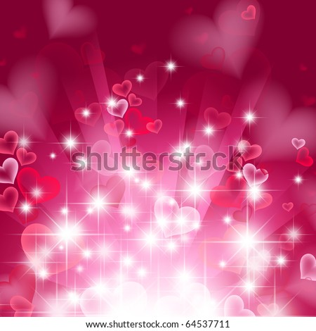 love bright theme with hearts and stars - stock vector