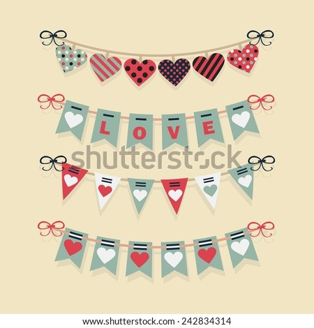 Love buntings and festive garlands decoration set for Valentine's Day and romantic designs - stock vector