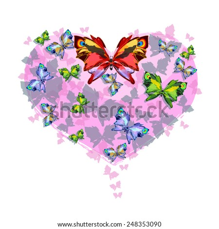 Love butterflies on pink heart -  Valentine illustration. As design element, Valentine day card. Bright butterflies on heart shape. Vector silhouettes eps 10. Isolated on white. - stock vector