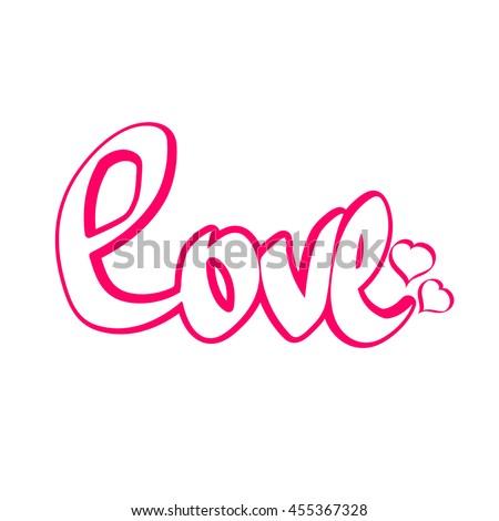 Love, calligraphy lettering, word design, sticker template, vector illustration - stock vector