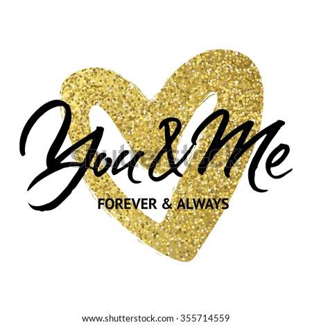 Love Card Design U0027You And Me Forever And Alwaysu0027. Hand Brush Lettering On