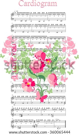 Love card. Floral heart on musical background for Valentines Day. Vector illustration. - stock vector