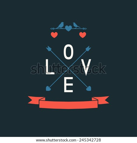 Love card with heart and arrows. - stock vector