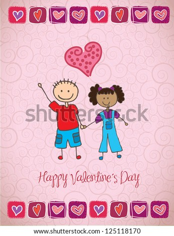 love card with two happy children vector illustration