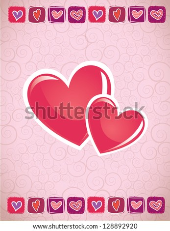 Love card with two hearts in signal of love vector illustration