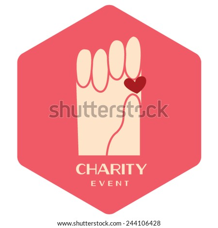 Love Charity badges/ Heart event - stock vector