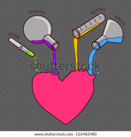 Love chemistry vector line-art illustration as different ingredients pouring out from the test-tubes into the heart - stock vector