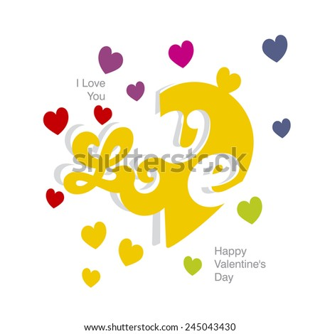 Love color heart orange white background