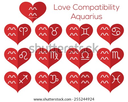 Love compatibility - Aquarius. Astrological signs of the zodiac. Vector set of flat thin line icons in heart. - stock vector