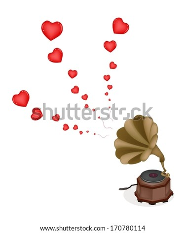 Love Concept, A Golden Gramophone or Turntable Play Romantic Music on Beautiful Brown Background with Copy Space for Text Decorated.  - stock vector