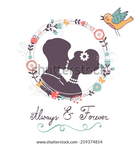 Love concept card. Always and forever kissing couple in floral wreath. Vector illustration  - stock vector